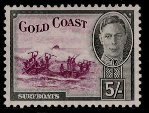 GOLD COAST GVI SG145, 5s purple & black, LH MINT. Cat £45.