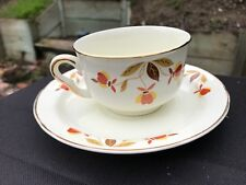 Hall Jewel Tea Autumn Leaf Ruffled D Flat Cup & Saucer Set