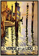 Vintage Art Deco 1920s Travel Poster Venice Italy Gondola Venise Lido Retro