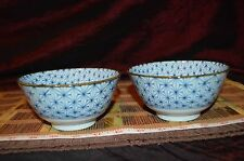 "Two Asian Porcelain Blue and White Design w/ Brown Rim Bowls 5 1/4""x2 5/8"""