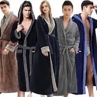 Plus Size Mens Gown Bathrobe Adults Winter Warm Fleece Faux Fur Wrap Nightwear