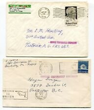Canada / USA 1974 Postal Strike - Mail Service Suspended - Pair of Covers # 5