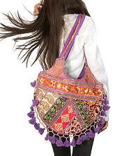 Colorful Patchwork Embroidered Tote  Purse Handbag Shoulder Hippie Boho Tassel