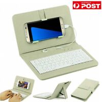 General Wired Keyboard Flip Holster Case For Andriod Mobile Phone 4.2-6.8'' AUS