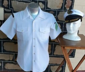 Original U.S.A. Naval shirt,+hat, white, polyester, by 'Creighton' size M
