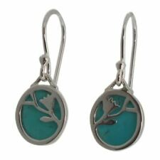 Sterling Silver and Turquoise Flower Pattern Design Drop Earrings by ELEMENTS