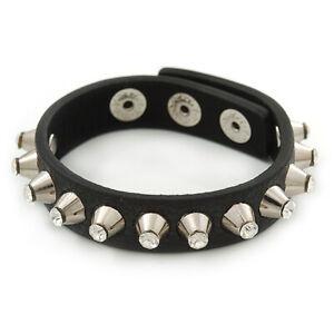Crystal Studded Black Faux Leather Strap Bracelet (Silver Tone) - Adjustable up