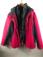 Free Country Womens Reversible Jacket Pink Color Block Full Zip Pockets Lined M