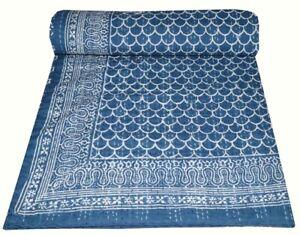 Hand Block Blue Print Indian Handmade Bedding Bedspread Kantha Blanket Quilt