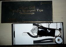Vintage~ Deluxe Gold Sprague Rappaport Type Stethoscope In Box 04-600Gp