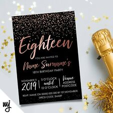 PERSONALISED 18TH BIRTHDAY PARTY INVITATIONS | BLACK ROSE GOLD GLITTER
