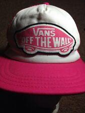 Vans Off The Wall  Snap Back Baseball Cap Hat Pink White Trucker Mesh GXN