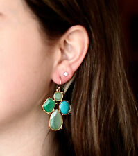 KATE SPADE BLUE GREEN TURQUOISE CLUSTER FIESTA CRYSTAL EARRINGS french wire drop