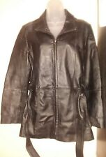 Croft and Barrow 100% Leather Black Waist Tie Belt Womens Jacket Coat Size Small
