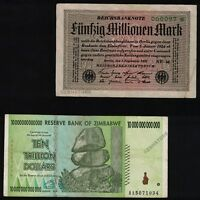 50 Million German Mark 1923 Banknote +10 Trillion Zimbabwe Dollars 2008 Currency