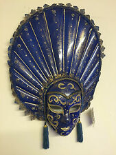 XL Blue & Gold Mardis Gras Carnival Mask Wall Hanging ~ Tassels & Glitter 14453