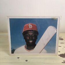 LOU BROCK - Vtg 70s Autographed 8x10 Photograph & Case, St Louis Cardinals
