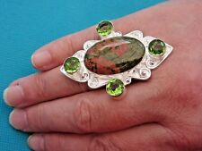 925 Sterling Silver Ring With Bloodstone & Peridot UK Q, US 8.25 (rg2778)