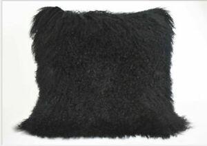 Real Mongolian Tibetan Lamb Fur Pillow Cushion Cover Pillowcase black Luxurious