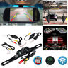 "7"" Rear view Mirror Monitor +Wireles IR Reversing Camera For Truck Carava Kit"
