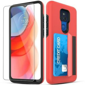 For Moto G Play 2021 wallet Case with Card Holder Slot + Screen Protector
