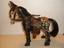 VINTAGE WOODEN MULE WITH REAL HORSE HAIR AND SADDLE