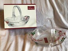 CELEBRATIONS BY MIKASA Holiday Bells Collection Christmas Glass Basket *NIB*