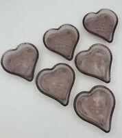Vintage Indiana Tiara Glass Purple Glass Heart Candy, Nut Trinket Dish SET OF 6