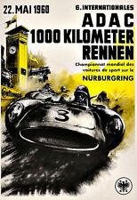 Motor Racing ADAC 1000 Km Auto Race 1960 Nurburgring Maserati  Race Poster Print