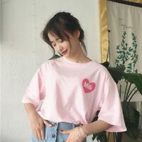 Lady Short Sleeve Pink T-shirt Girl Kawaii Drop Shoulder Blouse Top Shirt Casual