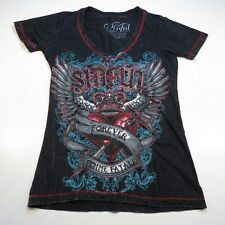 AFFLICTION SINFUL FOREVER FEMME FATALE WINGED HEART TATTOO ART T SHIRT Womens S