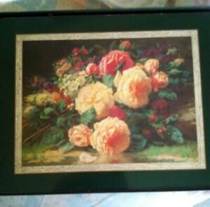 Vintage Placemats x 6 Boxed Jason Still Life Roses Green Pink  Cottagecore