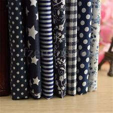 7Pzs Azul Marino Paquetes Tela Patchwork Algodón Retales Costura Retazos 50x50cm