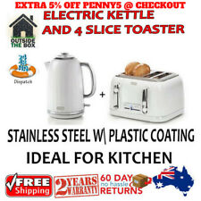 New White Silver Cordless 1.7L Electric Kettle and 4 Slice Toaster Kitchen Set