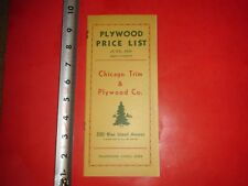 BC242 Vintage June 1939 Chicago Trim & Plywood Co Plywood Price List