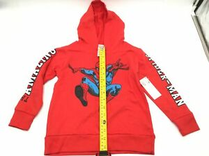 Marvel Spiderman Lightweight Youth Boys Pullover Hoodie Red Sweatshirt Size 5