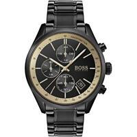 New Hugo Boss Men's Grand Prix Black Stainless Steel Chronograph Watch HB1513578