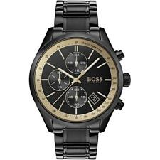 New Hugo Boss Men's Grand Prix Black Stainless Steel Chronograph Watch HB1513578