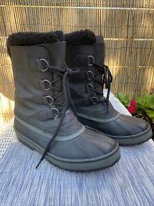 Mens Sorel Boots size 9 Waterproof Caribou Black Grey Lined