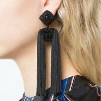 Bohemian Women Black Long Tassels Fringe Boho Dangle Earrings Ear Stud Jewelry