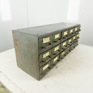 """Equipto 18 Drawer Industrial Metal Small Parts Cabinet 34-1/4""""W X11""""D X 13-1/2""""H"""