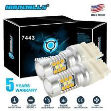 IRONWALLS 7443 7440 SMD LED Back Up Reverse Light Bulbs 6000K Super White Canbus