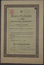 """Gewerkschaft """"Margarethe"""" 1908 1 Kux"""