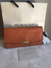 $550 Burberry Alvington Grain Copper Orange Leather Continental Wallet NWT