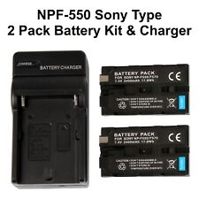 NP-F550 2-Pack Batteries w/ Battery Charger for Sony NP F970 F750 F770 + More