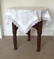 Vintage Small Square White Linen Tablecloth with Crochet Lace & Embroidery