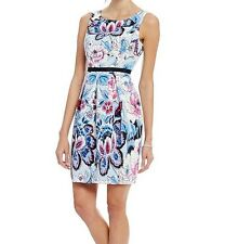 NWT MSRP $160 - ADRIANNA PAPELL Women's Floral A-Line Dress, Blue Multi, Size 4