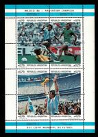 Diego Armando Maradona sellos Argentina Mexico 86 2 hojitas football stamps