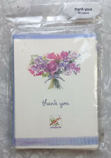 American Greetings  ~ 10 Thank You Cards & Purple Envelopes Floral Bouquet Bird