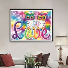 5D DIY Diamond Embroidery Painting Owl Colorful Cross Stitch Full Drill Decor